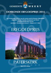 Oorkonde Erfgoedprijs Weert 2014 toegekend door de jury.